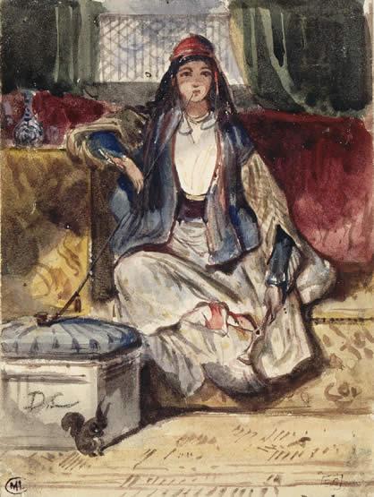 Jeune orientale assise sur un divan fumant dans un intérieur avec un écureuil, Alexandre Decamps