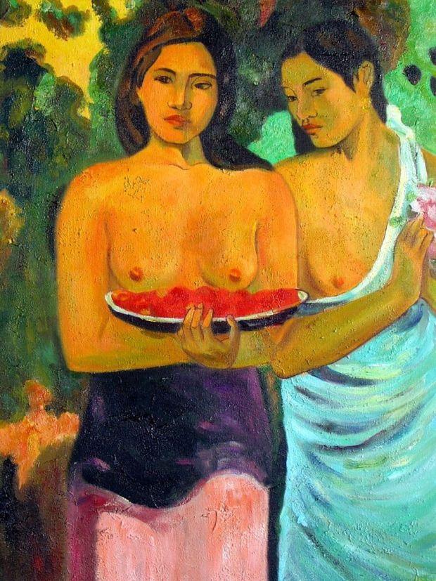 Les Seins aux fleurs rouges (Deux Tahitiennes; Femmes aux mangos), 1899, Paul Gauguin