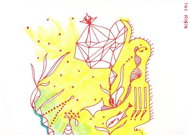 Dessin abstrait au stylo à encre rouge et crayon de couleur.