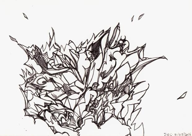 """Illustration du poème """"Soirée sur un lit d'étoiles filantes."""""""